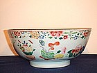 18TH CENTURY FAMILLE ROSE HUNDRED ANTIQUES PUNCH BOWL
