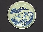 LATE QING DYNASTY BLUE AND WHITE LANDSCAPE TEA TRAY