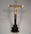 Antique 17th century Baroque Crucifix Cross Gild Bronze