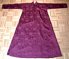 Antique Chinese Qing Dynasty Satin Silk Winter Robe