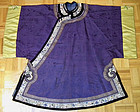 Antique Chinese Qing Dynasty Purple Silk Robe