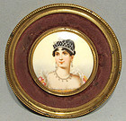 Antique Napoleonic Miniature Portrait Empress Josephine