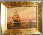 American Oil Painting with Tall Ship