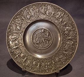 Antique 17th century Nürnberg Zinn Pewter Relief Plate
