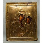 Antique Russian Icon Mother of God Virgin of Kazan