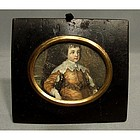 Antique Miniature Portrait of Young Aristocrat , 19th c