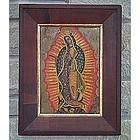 Antique Spanish colonial painting Our Lady of Guadalupe