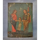 Antique Spanish Colonial Painting The Holy Family