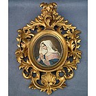 Antique early 18th -19th c Painting of Virgin Mary