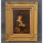 Antique Oil Painting after Sir John Everett Millais Bub