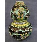 Antique FAMILLE - NOIRE Chinese Porcelain Vase late 19t