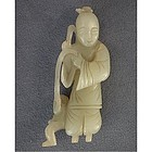 Antique Chinese Qing Dynasty Jade Courtier with Monkey
