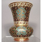Antique Islamic Indian Mughal Enameled Gilt Copper Vase
