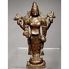 Indian Bronze figure of Vishnu 17th century