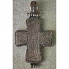 Large Antique Byzantine Silver Cross Enkolpion 12th c