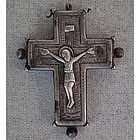 Antique Silver Iron Byzantine Pectoral Reliquary Cross