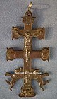 Antique Spanish Bronze Cross Caravaca Crucifix 18th c