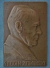 Antique 1926 bronze plaque Polish Zeromski by Aumiller