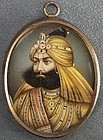 Antique Indian Sikh miniature Maharaja Sher 19th c