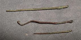 Antique Pre-Columbian 3 copper sewing needles Moche