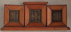 Antique 19th century Russian Bronze Triptych Icon