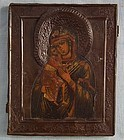 Antique 19th c Russian Orthodox Icon Mother of God