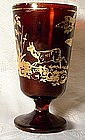 Antique Bohemian Ruby Glass Goblet, 19th century