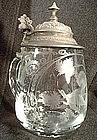 Antique Bohemian Cut Glass Beer Stein 19th c.
