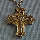 Antique 17th - 18th c Gold Gilt Silver Orthodox Cross