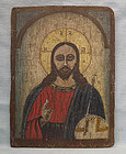 Antique 19th century Russian Orthodox Icon Christ Pantocrator