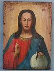 Antique 19th century Russian Orthodox Icon Christ Pantocrator