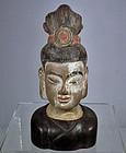 Antique Chinese Ming Dynasty Terracotta Head Avalokiteshvara Bodhisatt