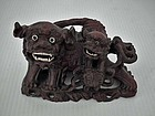 Semi Antique Chinese rosewood sculpture of the Foo Dogs Shishi