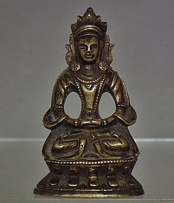 Antique 18th -19th century Sino Tibetan Small Bronze Figure of Guanyin