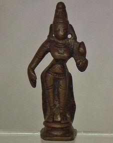 Antique 16th-18th c India Hindu Miniature Bronze Figure Of Sri-Lakshmi