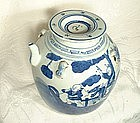 ANTIQUE, CHINESE, CHING DYNASTY BLUE AND WHITE TEAPOT