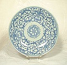 CHING DYNASTY BLUE AND WHITE SAUCER-DISH