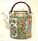 ANTIQUE ROSE MANDARIN CHINESE EXPORT PORCELAIN  TEAPOT