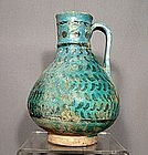 Ceramic Turquoise Glazed Jug, Persia, 13th Century