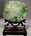 ANTIQUE CHINESE GREEN JADE PLAQUE, 17TH-19TH CENTURY