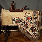ANTIQUE INDO PERSIAN ISLAMIC UZBEK HORSE SADDLE COVER