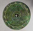 CHINESE BRONZE MIRROR, HAN DYNASTY (206 BC-220 AD)