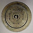 Chinese Bronze Mirror, Han Dynasty, TLV Pattern
