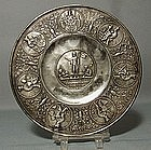 Antique German Nuremberg Pewter Plate, 17th Century