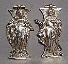 Antique Silver Bible Book Clasps, 17th century