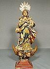 Antique Spanish Colonial Santos Virgin Mary, 18th cen.