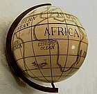 Antique Scrimshaw Miniature Globe, 18th-19th Cen.