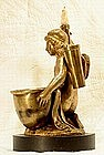 Antique Empire Inkwell Gilded Bronze Cherub, c. 1800