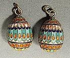 Antique Imperial Russian Silver Enamel Eggs, 19th cen.