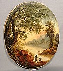 Antique Oil Painting European Landscape, 18th Century